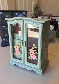 Vintage Shabby Chic Jewelry Box / Painted Jewelry Armoire / Wooden OOAK Designer Jewelry Box by ByeByBirdieDesigns on Etsy https://www.etsy.com/listing/500181684/vintage-shabby-chic-jewelry-box-painted