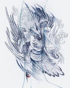 火焰龍🔥flame dragon design done,tracing time Japanese Phoenix Tattoo, Small Phoenix Tattoos, Japanese Dragon Tattoos, Dragon Tattoo Back Piece, Dragon Sleeve Tattoos, Phoenix Design, Phoenix Tattoo Design, Japanese Tattoo Designs, Japanese Tattoo Art