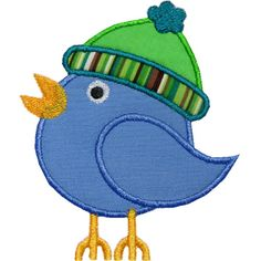Love this FREEBIE!   Snow Bird Hat Applique by HappyApplique.com