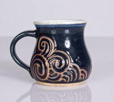 Ocean Waves Mug in Dark Navy Blue & Satin White. Handmade Stoneware Pottery Mug - Unique Coffee Mug - Nautical Tea Mug - Coffee Lover Gift by NaomiAnita on Etsy https://www.etsy.com/ca/listing/571168778/ocean-waves-mug-in-dark-navy-blue-satin