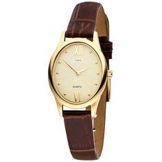 JOBO Damen-Armbanduhr Quarz Analog Edelstahl gold vergoldet braunes Lederband