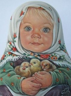 Este posibil ca imaginea să conţină: 1 persoană Russian Painting, Russian Art, Old Illustrations, Illustration Art, Jessie Willcox Smith, Ukrainian Art, Vintage Easter, Christmas Art, Vintage Pictures