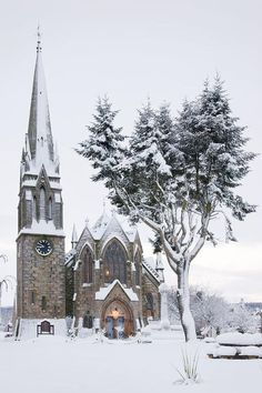 Ballater Church at Ballater on Royal Deeside in winter snow Scotland Old Churches, Catholic Churches, Winter Scenery, Cathedral Church, Church Building, Snow Scenes, Chapelle, Place Of Worship, Winter Snow