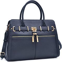 Dasein Women's Designer Padlock Satchel Handbag Briefcase Double Breasted Pockets With Shoulder Strap