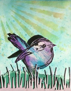scribbly bird and stencil card