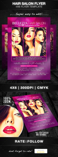 Beauty Salon A4 Flyer Flyer printing, Print templates and A4 - hair salon flyer template