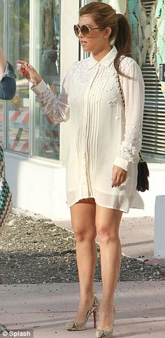 Kourtney Kardashian: In Snake Skinned Heels And A Creme, Button-Up, Long Sleeved Dress. Street Style!