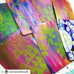 Sherry Canino of https://caninosartisticcafe.wordpress.com/ made these vibrantly stenciled cards.
