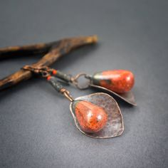 ceramic drop earrings • copper leaves • artisan beads • boho earrings • rustic jewelry • speckled orange • raw glass • autumn • art clay by entre2et7 on Etsy