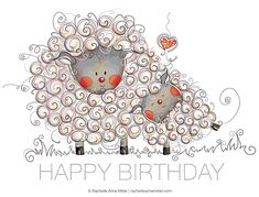 Cutest illustrations by Rachelle Anne Miller. and I love the simple palette in… Birthday Greetings, Birthday Wishes, Birthday Cards, Happy Birthday, Sheep Art, Sheep And Lamb, Happy B Day, Illustrations, Whimsical Art