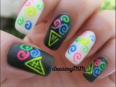 Neon Ice cream Swirls Nail Art Tutorial on youtube.com