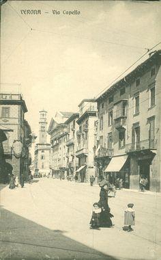 Verona - Via Cappello con la chiesa di S. Sebastiano e la torre dei Lamberti - cartolina storica