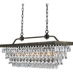 Found it at Wayfair - Hemera 4 Light Crystal Chandelier - Dining Room Kitchen Pendants, Island Pendants, Glass Pendants, Farmhouse Chandelier, Chandelier Lighting, Room Lights, Ceiling Lights, Rectangular Chandelier, Candelabra Bulbs