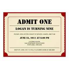 Shop Ticket Stub Party Invitation created by berryberrysweet. Movie Night Party, Movie Nights, Game Night, Party Time, Baseball Birthday Party, Superhero Party, Kids Birthday Party Invitations, Birthday Parties, Birthday Fun