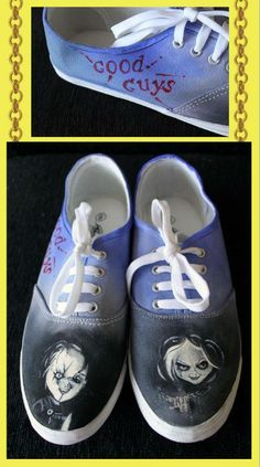 san francisco 022c9 c8874 Chucky and Tiffany Custom Painted Shoes - Size 8 AUS -  60.00