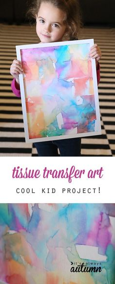 Tissue transfer art is not only gorgeous, it's totally easy enough for kids to make! Fun kid's art project - perfect indoor activity for rainy days.