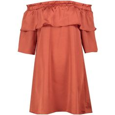 Boohoo Irene Satin Off Shoulder Frill Shift Dress (52 PEN) ❤ liked on Polyvore featuring dresses, red off the shoulder dress, off-shoulder ruffle dresses, off the shoulder bodycon dress, cocktail party dress and off-shoulder maxi dresses