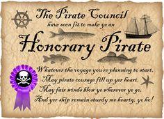 Printable Pirate Certificate: Honorary Pirate