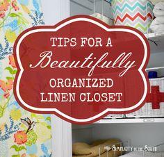 Tips for a beautifully organized linen closet. Closet organization