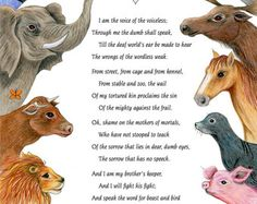 Poem for Animals illustrated Voice of the Voiceless, 8 x 10 print- elephant, cat, dog, pig, cow, seal, horse, penguin, polar bear, dolphin