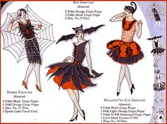 Fabtastic Deco Flapper Web, Bat, and Cat Crepe Paper Costume Illustration from Bogie Book!