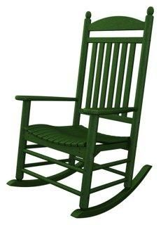 Bedford Rocker, Green -- With its unique detailing and a woven seat and back, this traditionally styled, all-weather plastic rocker is a modern interpretation of a classic. Suitable for outdoor use.