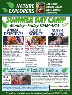 Enrollment is open for Nature Explorers Summer Camps, 2018.Space is limited, and a refundable deposit of half of the registration fee secures your spot.   This will be an exciting and pivotal summer to be a part of Nature Explorers! It is the first year at our new location, and will be the fir