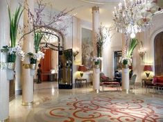 Hall of the Plaza Athénée hotel in Paris.