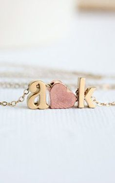 Love necklace initial heart necklace Couples