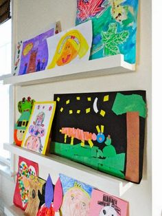 Displaying Kids Artwork   How To Display Kids Artwork   Country Living.  Mount Ledges On The Wall, Same Color As The Wall So The Artwork Stands Out.