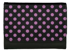 Wallet with a polka dot pattern of radiant orchid dots on a black background. A classic pattern that never goes out of style. http://www.zazzle.com/radiant_orchid_on_black_polka_dot_wallet-256521358931601106?rf=238471029619077409