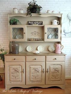 Beautiful Shabby Chic Painted Welsh Dresser in Annie Sloan Country Grey. French Style Stencils Applied & Distressed. #shabbychicdressersdecor