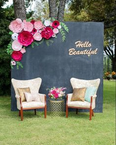 Large paper flower wall wedding shower backdrop. chalkboard. photo booth. hello beautiful.