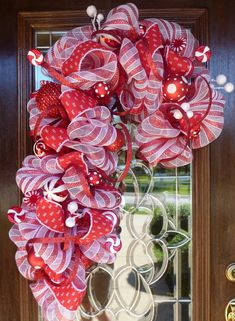 RED and WHITE CANDY Cane Christmas Wreath