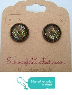 "Antiqued Bronze-Tone Glitter Glass Galaxy Stud Earrings 1/2"" Round Black from Summerfield Collection http://www.amazon.com/dp/B019CXQQJO/ref=hnd_sw_r_pi_dp_UncDwb17G29WN #handmadeatamazon"