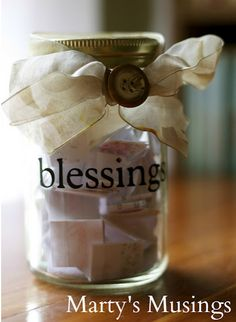 #1 Marty and Marty's Musings linked up a fantastic post on her many uses of a Ball Mason Jar. Such a fun post. One of our favorites is her Our Blessings Jar.  [VERY important jar!]