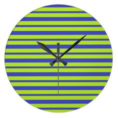 Thick and Thin Blue and Lime Green Stripes Large Clock - home decor design art diy cyo custom
