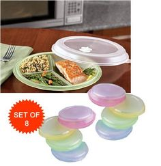 "MICROWAVE DIVIDED PLATES WITH VENTED LIDS (SET OF 8 IN ASSORTED COLORS) by B.W.. $20.99. Vented Lids. Microwave and Dishwasher Safe. Nest for Compact Storage. Each are 3 Sectional with Lid. Divided plates are great for storage of leftovers and brown bagging it. Divided plates allow you to make your own healthy ""TV dinners"" too! Sturdy plastic divided plates, 9.25"" diameter. Divided plates with three sections and snap on lids go from freezer to microwave to tab..."