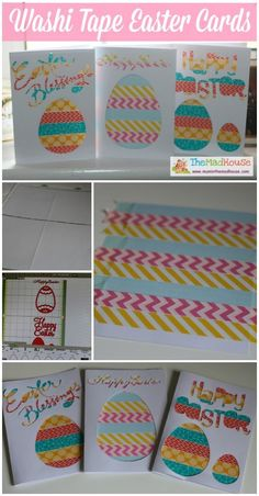 Easy washi tape aperture easter cards for kids