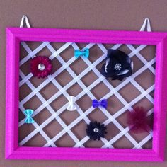 The finished DIY baby girl hair pin board (i also have separate clips to clip on headbands as well!) perfect fit for a little princess' room! :)