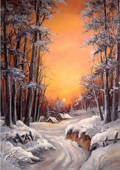 Risultati immagini per landscape christmas scenes painting