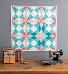 """I love this quilt pattern! Meet the """"Vintage Quilt Revival"""" Quilts: Cut Glass Baby Quilt - Swim, Bike, Quilt! Patch Quilt, Quilt Blocks, Quilting Projects, Quilting Designs, Sewing Projects, Quilt Design, Small Quilts, Mini Quilts, Bright Quilts"""