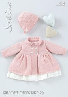 Baby Girls Peter Pan Collared Coat with Bonnet in Sublime Baby Cashmere Merino Silk 4 Ply (6099)-Deramores