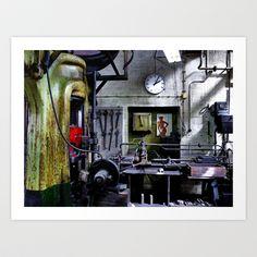 Mens World ... uhm.. Workplace Art Print by Regina Hoer - $18.00  ~ Men's World ... uhm.. Workplace ~  #iron #screwpress #press #giant #photography #industry #factory #workshop #men #pinup