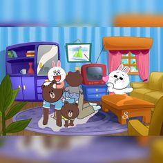 Cute Couple Cartoon, Cute Couple Art, Cute Love Cartoons, Cute Couples, Line Brown Bear, Bear Gif, Cony Brown, Funny Bears, Cute Love Gif