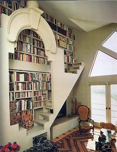 Yes Please, To the Oversized Pediment, Built-In Shelves, Stairs, Walkway and the Window, Oh Hell, the Whole Room!