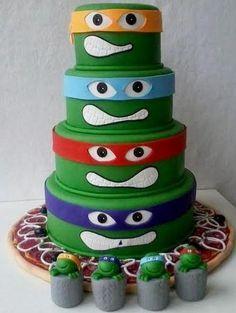 Creative Teenage Mutant Ninja Turtles Cake in 4 Tiers with Pizza at the bottom.JPG