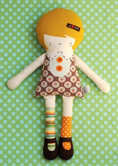 In love with this doll by Retro Mama - I'd love to try to make something like this!