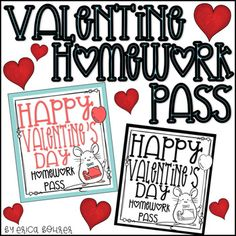 This download is for free Valentine themed No Homework Passes. I have made both a black and white version and colored version of the homework passes. You can print the black and white version on colored paper to save ink and I wanted you to be able to print them at school if you are a last minute type of teacher like myself!
