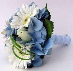 gerbera daisy wedding bouquets | Blue Hydrangeas & white gerbera daisies | Bridal bouquets